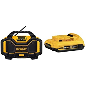 DEWALT DCR025 tooth Radio Charger, Blue with Compact XR Li-Ion Battery Pack
