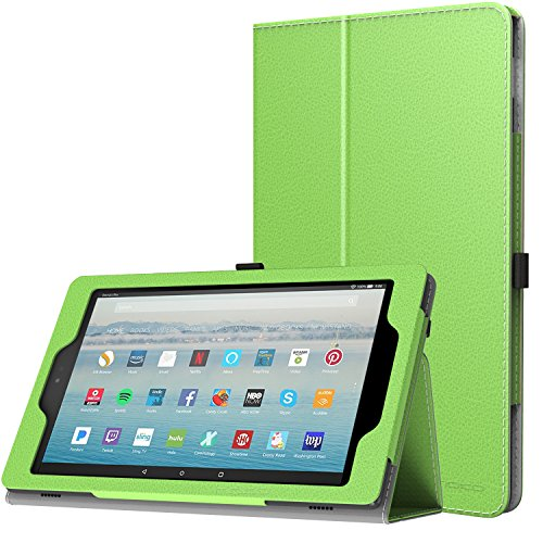 MoKo Case for All-New Amazon Fire HD 10 Tablet (7th Generation, 2017 Release) - Slim Folding Stand Cover with Auto Wake / Sleep for Fire HD 10.1 Inch Tablet, GREEN