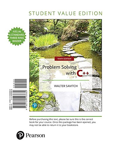 Problem Solving with C++, Student Value Edition (10th Edition) by Pearson