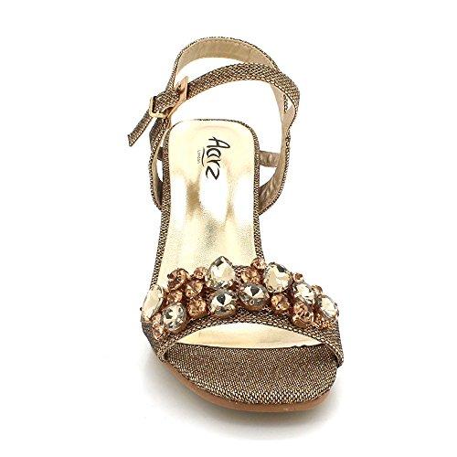 AARZ LONDON Womens Ladies Crystal Gems Diamante Evening Wedding Party Bridal Prom Medium Block Heel Sandal Shoes Size Brown AA4d1Ny2