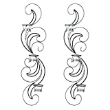 GHP Set of 2 Black Wrought Iron Wisps Waves Wall Sconces Candle Holders