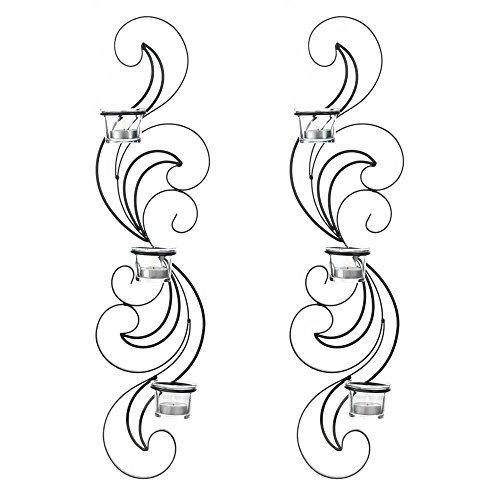 GHP Set of 2 Black Wrought Iron Wisps Waves Wall Sconces Candle Holders by Globe House Product