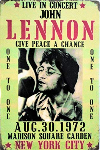 - Pish Posh Llc Vintage Tin Sign Decor, John Lennon Live in Concert