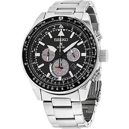 (Seiko Men's Prospex Solar Stainless Steel Chronograph Watch)