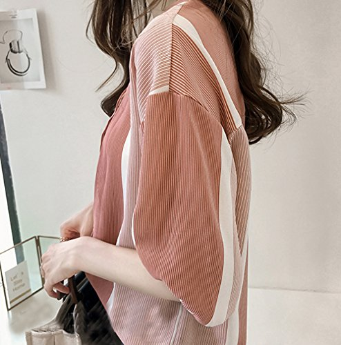 Col T de Rose Patchwork Printemps Raye Chemise V Automne Chauve Lache Fashion Souris Blouses Casual et Jours Femme Haut Tops Manches Shirts Les Tous Shirts Chemisiers 4wwxXUAq