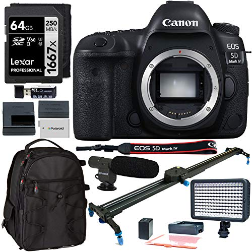 Canon EOS 5D Mark IV Digital SLR Camera ‑ Body Only, Polaroid 24-Inch Rail Track Slider, Lexar 64GB Memory Card, LED Video Light, Microphone, and Accessory Bundle