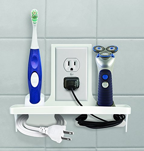 """IdeaWorks Wall Outlet Organizer Stores, Organizes, And Charges Your Phone, Electric Toothbrush, and Shavers,White,9"""" 9"""" 555"""