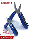 SKIDOOMARINK Multitool Pocket Knife 15 in 1 Portable Plier Kit in spring assisted Blue sharp Stainless Steel cool for Survival Camping Fishing Hunting Hiking with Nylon Sheath FREE Baby Plier