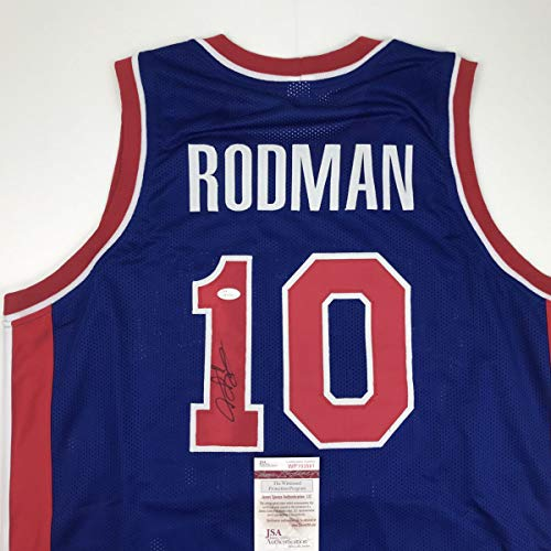 Autographed/Signed Dennis Rodman Detroit Blue Basketball Jersey JSA COA