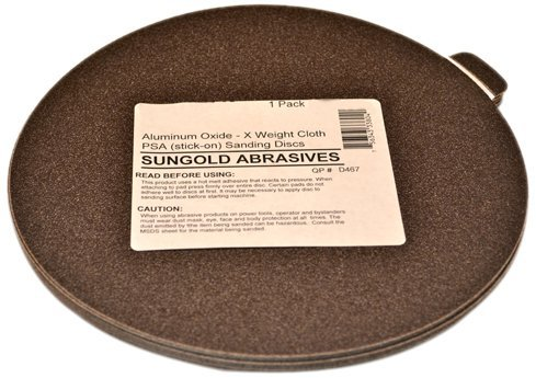 Sungold Abrasives 339061 80 Grit 9-Inch X-Weight Cloth Premium Industrial Aluminum Oxide PSA Stick-On Discs For Stationary Sanders, 5 Discs/Pack by Sungold Abrasives