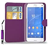 Sony Xperia Z3 Leather Wallet Flip Case Cover Pouch & Mini Touch Stylus Pen + Free Screen Guard & Cleaning Cloth - DARK PURPLE