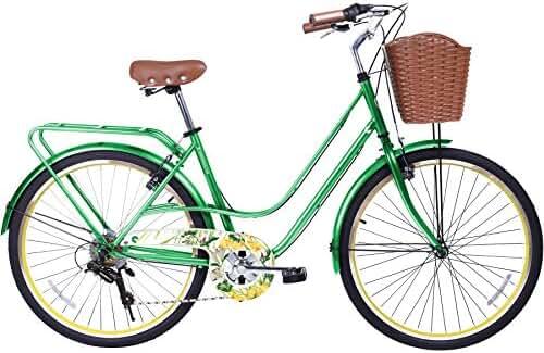 Gama Bikes Women's City Avenue Step-Thru 6 Speed Shimano Hybrid Urban Cruiser Commuter Road Bicycle, 26-inch wheels
