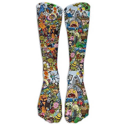 Adventure Time All Characters ThemeKnee High Graduated Compression Socks For Women And Men - Best Medical, Nursing, Travel & Flight Socks - Running & Fitness
