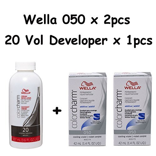 Wella Color Charm 050 Cooling Violet 2-Pack with Cream 20 Developer 3.6 oz by Wella Color Charm