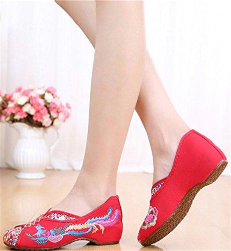 Satuki Brodert Sko For Kvinner, Kinesisk Stil Håndlagde Uformell Loafer Floral Flate Sko Rød