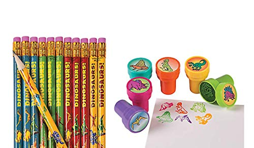 24 Pc Dinosaur Party Favors - Dinosaur Pencils and Dinosaur Stampers Lot