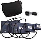 ADC Multikuf 732 4-Cuff EMT Kit with 804 Portable Palm Aneroid Sphygmomanometer, Child, Small Adult, Adult and Large Adult Blood Pressure Cuffs (13-50 cm), Black Nylon Zipper Storage Case, Navy