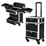 SONGMICS Rolling Trolley Train Case with 1 Drawer Professional Lockable Makeup Organizer Aluminum Cosmetic Case with Sliding Trays 4 Universal Wheels Black UJHZ07B