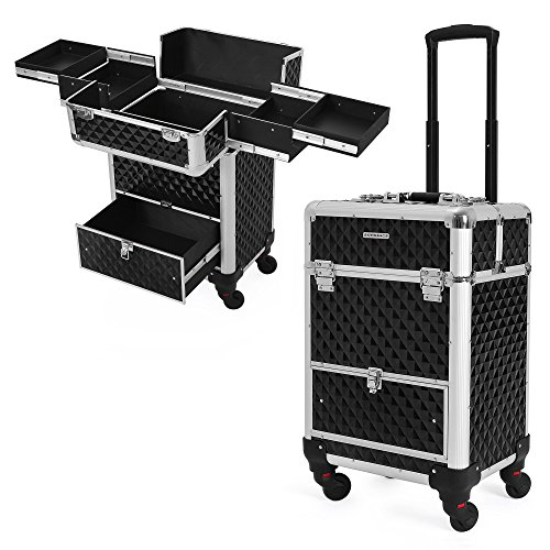 SONGMICS Rolling Train Case, 1 Large Sliding Drawer, 4 Slidi