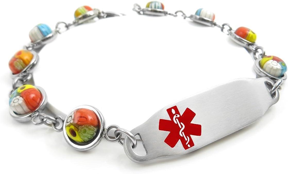 Pre-Engraved /& Customized Gluten Allergy Alert Bracelet My Identity Doctor Yellow Black//White Millefiori Glass