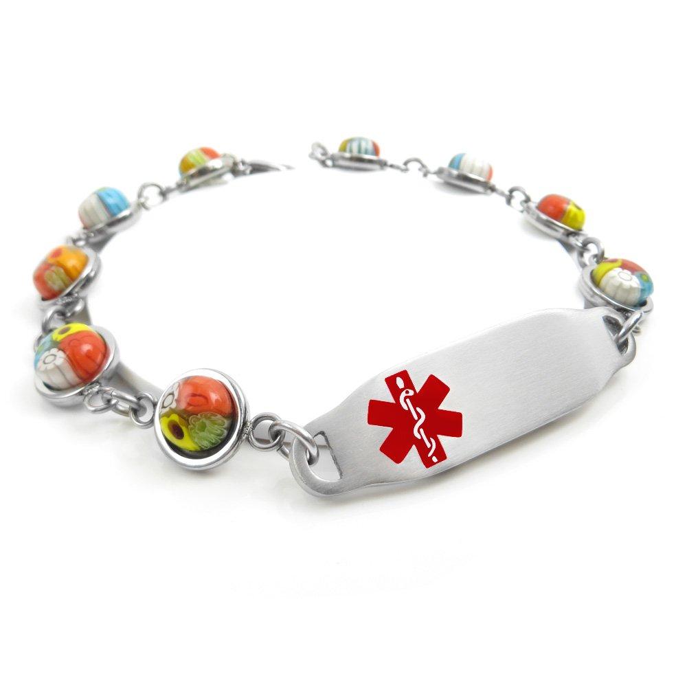 Pattern Millefiori Glass My Identity Doctor Red Pre-Engraved /& Customizable Penicillin Allergy Alert Bracelet