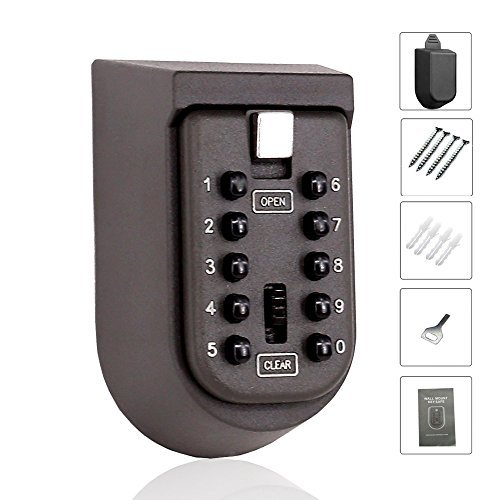 Wall Mounted Key Lock Box with 10-Digit Push Button Combination — Perfect for Guests, Tenants, Realtors, Contractors, Spare Key Storage at Home or Office — Exterior Waterproof Cover and Mounting Kit