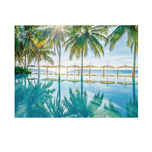 - Landscape Photography Background,Pool by The Beach with Seasonal Eden Hot Sunny Humid Coastal Bay Photography Backdrop for Studio,8x7ft