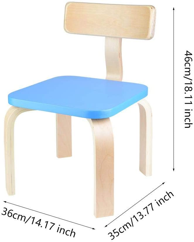EBTOOLS Child Chair,2Pcs Small Birch Bent Chair Wood Children Chair Stool Nursery Seat for Kids Dining Gaming Toddler Chair for Bedroom Playroom Living Room Lounge,46x36x35cm Blue