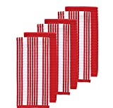Set Of 6 Oversized Red Striped Theme Kitchen Dish Towel Set, Sleek Trendy Classic Solid Color Linen Pattern Cloths Highly Absorbent Soft Plush Vibrant Vertical Stripes Classic, Cotton Terry