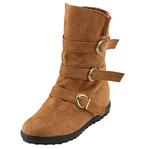 Limsea Women Snow Boots Suede Buckle Strap Keep Warm Round Toe Zipper Flat Pure Color 7 Brown -