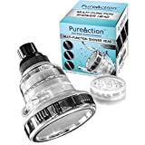 PureAction Filtered Shower Head - Filters Chlorine, Removes Hard Water, Prevents Hair & Skin Dryness - The Best Wall Mounted Showerhead with 3 High Pressure Flow/Spray Setting and 10000 Gallon Filter
