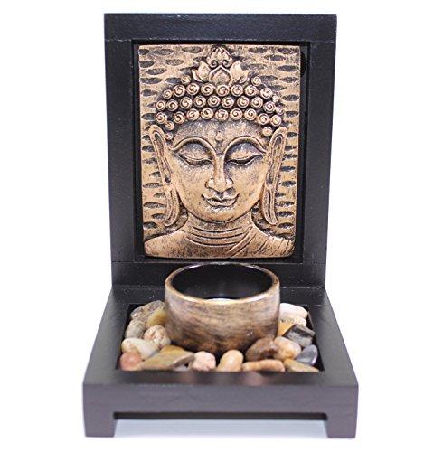 Tabletop Bronze Empaistic Buddha Face Zen Garden with Rock Candle Holder Gift & Home Decor US Seller