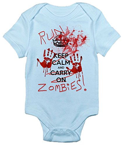Run Zombies Baby Bodysuit Cute Baby Clothes for Infant Boys and Girls (0-3 Months, Light Blue) -