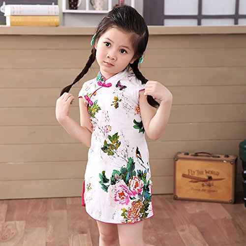 Bear Kids Girls Cheongsam Dress Chinese Qipao (140cm, carnation)