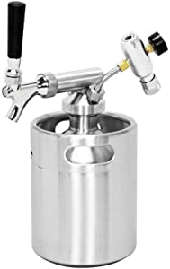 SupYaque Pressurized Beer Mini Keg Growler Tap System for Portable Beer Dispenser with Stainless Steel Mini Keg Regulator Keeps Carbonation and Craft,Draft Beer Dispenser (64 oz)