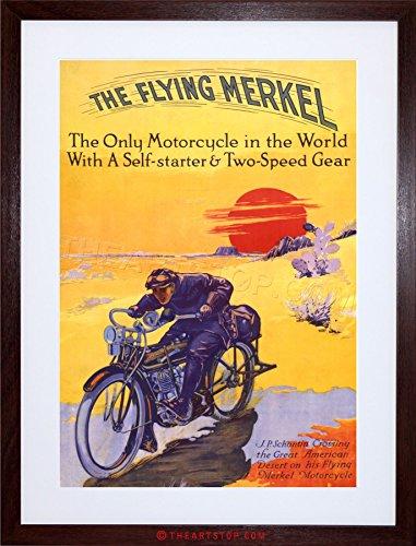 The Art Stop Travel Transport Flying Merkel Motorbike Motorcycle Framed Print F12X7257 -