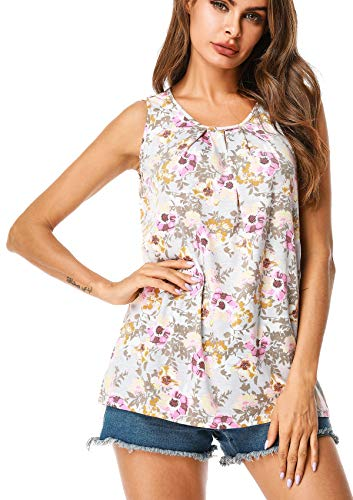 UUANG Women Basic Sleeveless Floral Print Swing Tunic Tank Tops (Grey,XXL)