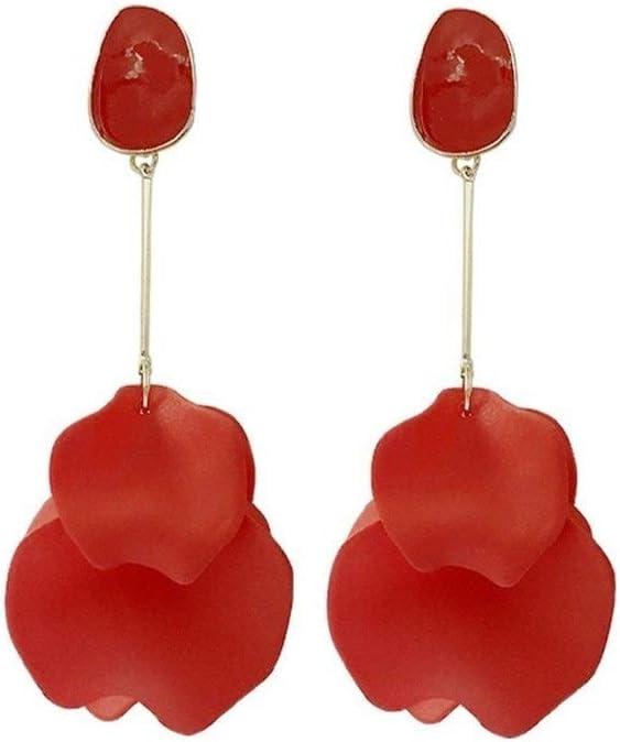 RJJX Home Pendientes Irregulares Pendientes clásico Encanto Aguja de Plata Big Red Rose Colgante Grande del oído pétalos Parte Larga de la Borla Pendientes Exquisitos y Encantadores