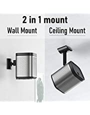 2 in 1 Wall Mount for Sonos Play 1 Speaker Stand Tilt & Swivel 180° Adjustable Ceiling Mount Compatible with Sonos Play:1 Mounting Bracket, Black (Not Fit for Sonos One)