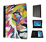 1625 - Colourful Cute Lion Face Cats Wildlife King Boss Design Apple ipad Air 1 - 2013 Fashion Trend TPU Leather Flip Case Protective Purse Pouch Book Style Defender Stand Cover