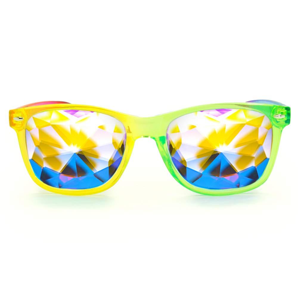 GloFX Ultimate Kaleidoscope Glasses - Transparent Rainbow - EDM Rave Diffraction Festival Eyewear by GloFX