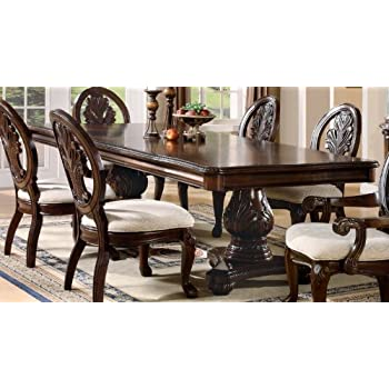 Amazon Com Double Pedestal Dining Table With Extension