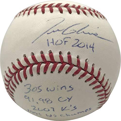 (Tom Glavine Signed Autographed Stat Inscribed OML Baseball JSA)