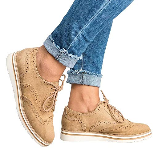 Wonvatu Women's Platform Lace-Up Oxfords Shoes Casual Wingtip
