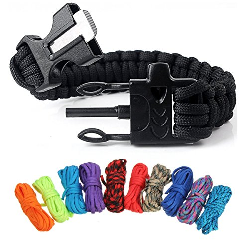 CAMTOA Paracord Survival Bracelet 550lb Type III Paracord Combo Crafting Kits with 10 Feet in 10 Colors and 5 Buckles For Friendship Bracelets and Craft Beginners