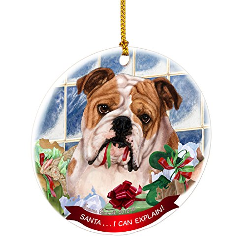 English Bulldog Santa I Can Explain Happy Howliday Round White Porcelain Hanging Ornament ()