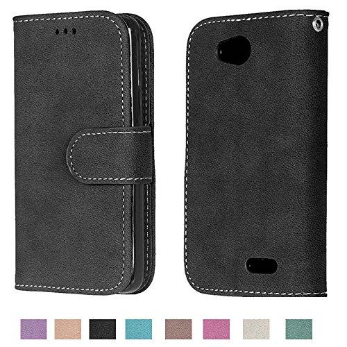 LG Optimus L90 Case, LG Optimus L90 Wallet Case TOMYOU Suede Leather Scratch-resistant Anti Slip Built in Card Slots Holder Kickstand Cover for LG Optimus L90 D415 Black