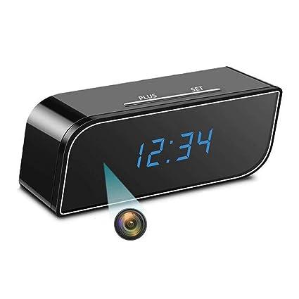 XJYA Cámara 1080p WiFi Despertador,Oculto Reloj de Camara ...