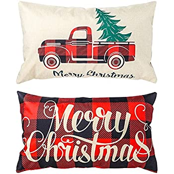 TERUNPU 2pcs Christmas Pillow Covers 12x20inches, Christmas Cotton Linen Pillowcase Throw Pillow Cases Home Sofa Bedroom Car Decor Hoilday Gift