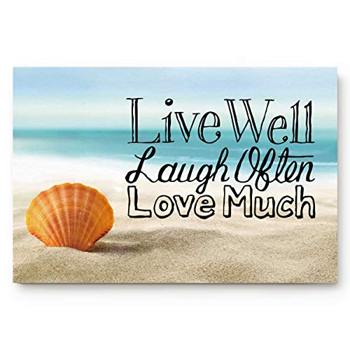 Infinidesign Non Slip Indoor Bathroom Kitchen Decor Rug Mat Welcome Doormat Starfish Seashell Live Well Love Much (20